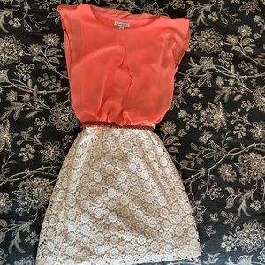 Dresses & Skirts - Peach and Cream Dress BELT INCLUDED!